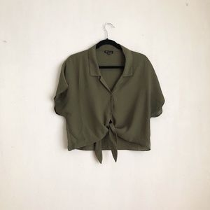 olive blouse green semi sheer buttoned down L ligh